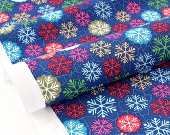 Fabric theme Christmas-snowflake multicolor American blue x 50cm