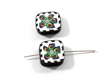 2 Square Handmade Polymer Clay Beads, Handmade Beads
