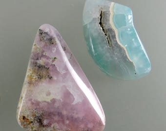 Smithsonite Cabochons, Translucent Smithsonite Cabochons, Pink Cab, Blue Cab, Designer Cabochons, Gifts, C2393, Handcrafted by 49erMinerals
