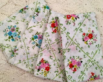 Cannon Monticello Pillowcases - New Old Stock - Unused - Pinks Greens Florals - Vintage Muslin Pillowcases - NOS - 1970s