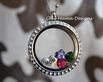 Choose your Own Charms and Build Your Locket, Birthstone Locket, Floating Locket, Mom Locket, Grandma Locket, Floating Charm Memory Locket