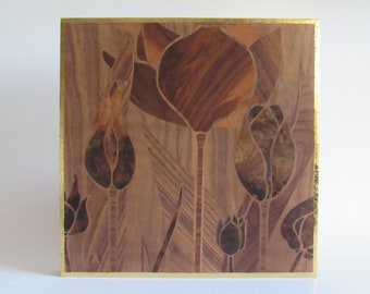 Tulips Art Nouveau done in marquetry using natural wood. Free shipping.