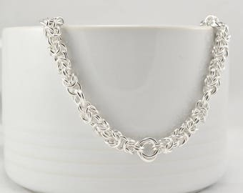 Chain Mail Necklace|Byzantine Necklace|Mobius Necklace|Chainmaille Necklace|Sterling Silver|Hallmarked|UK Seller|Handmade in Scotland