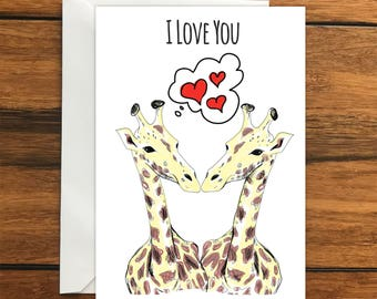 I Love You Giraffes greeting card A6 One Card and Envelope Valentine's Romantic