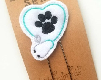 Vet / Paw Print Planner Clip - Vet Tech - Desk Accessory - Veterinarian - Planner Accessory  - Small Gift