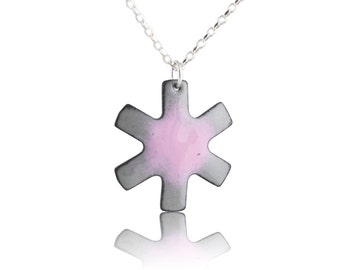 Asterisk Necklace - Pink and Gray Enamel