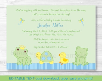 Cute Frog & Turtle Baby Shower Invitation / Turtle Baby Shower Invite / Frog Baby Shower Invite / Baby Boy / INSTANT DOWNLOAD Editable PDF