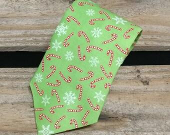 Lime Snowflake Candy Cane Necktie, Candy Necktie, Holiday Necktie, Winter Necktie, Christmas Necktie