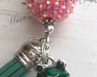 Cute Little Green Frog with Rhinestones Zipper Charm/Keycharm/Purse/Bag/Planner Charm/with beads and tassel accents/science/teacher/gift