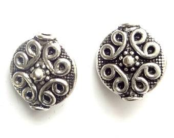 40 Tibetan Silver Beads 11mm Disc Beads Jewellery Making