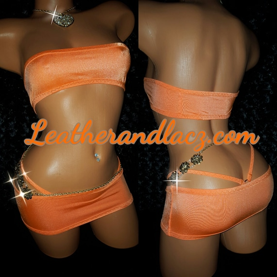 Exotic Custom Made Dancewear Mini Band-Aid, Tube Top, Skirt, Thong, Stripper Outfit, Stretch, any color available
