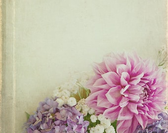 Dahlia Hydrangea Photograph, shabby chic, vintage flower photography, pastel, pink, lavender, floral, wall art