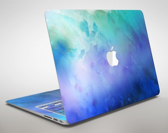 Teal 424 Absorbed Watercolor Texture - Apple MacBook Air or Pro Skin Decal Kit (All Versions Available)