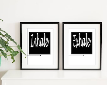 Inhale Exhale Print, Minimalist Typography Art, Yoga Wall Art, Pilates Art, Relaxation Gifts, Breathe Print, Home Wall Art, Instant Download