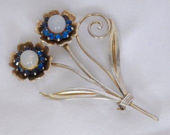 Antique Brooch Flower rose gold plated over sterling beautiful stones