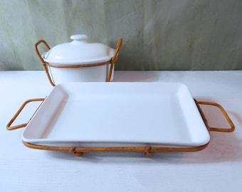 "Arabia Finland ""Kilta"" Serving Plate with Rattan Tray - Designed by Kaj Franck"