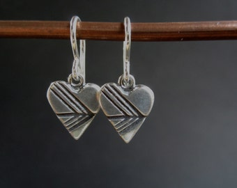 Arrow Heart Silver Geometric Earrings