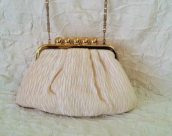 Vintage Wedding Purse, Prom Bag, Off White Ruched Taffeta, Gold Bead Clasp & Chain