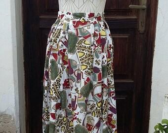 Skirt Vintage 60s triblal aztec Midi, Made in France size: M UK 10 USA 8