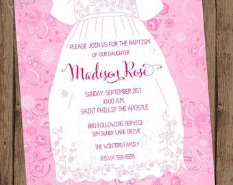Pink Baptism Christening Invitations - 1.00 each with envelope