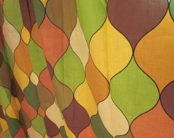Vintage Mod Boho Full Length Curtains, Green Mod Drapes, Vintage Pop Art Drapes, Mid Century Mod Curtains, Mid Century Mod Drapes