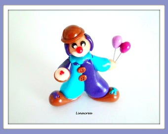 The circus Clown character Miniature polymer clay handmade