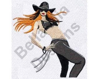 Woman - Machine Embroidery Design, Cowgirl In Hat