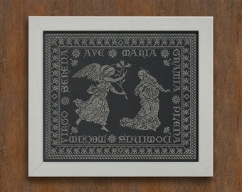 INSTANT DOWNLOAD Ave Maria Christmas Sampler PDF cross stitch patterns by Modern Folk at thecottageneedle.com monochromatic
