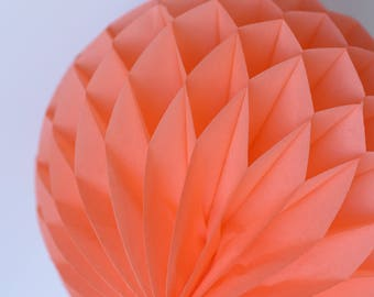 Coral Tissue paper honeycomb ball -  hanging wedding party decorations - nursery decor - birthday party