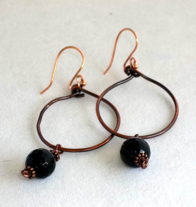 Hoop Earrings, copper and Black Onyx stones