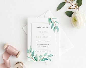 Printable Save The Date Printable - Watercolor Botanical Save the Date Printable - Wedding Invites PDF - Letter or A4 Size (Item code: P348)