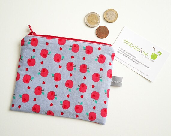 Coin purse - mini zippered pouch - apples - dots - red - pink - blue gray - colorful - handbag - bag - purse - gift for girls - Christmas