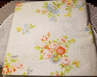 """Vintage, Pequot, Twin Flat Sheet, 66"""" x 104"""", gold, red and pink floral, cottage, country"""