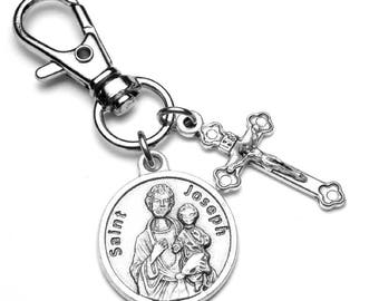 St. Joseph Catholic Holy Medal & Crucifix Charm Backpack Clip Zipper Pull Lobster Clasp, Purse Clip, Catholic Jewelry Gift