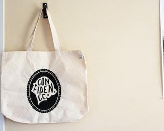 Confidence - screen printed inspirational tote - motivational empowerment design - eco friendly