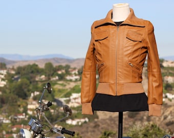 Tan Vegan Leather Jacket w/ Knit Cuffs and Waist (Vintage / 80s)