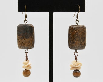 Bronzite, mother of pearl chips, and tiger eye earrings