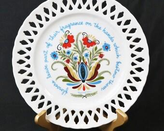 Berggren Tryaner Scandinavian Swedish Folk Art Latice Collector Plate, Flowers
