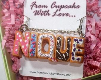Custom Donut Name Necklace