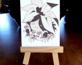 Original illustration matte print ACEO 3.5 x 2.5, home decor, pokemon, collectible art, unique art, textured paper, Oddish