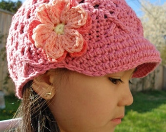 Rose Pink 12-24 Months Girls Cotton Hat, Newsboy Crochet Hat, Toddler Girl Hat, Crochet Newsboy Hat, Girls Toddler Hat, Kids Winter Hat