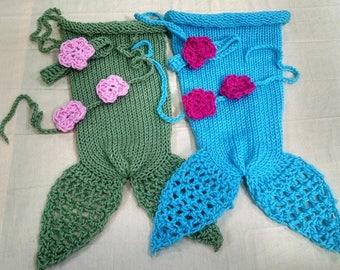 Newborn Photo Outfit Mermaid Tail Blanket Newborn Crochet Outfit - Full Set