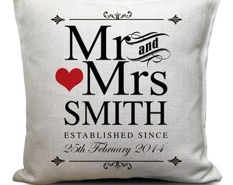 PERSONALISED Wedding Cushion Cover - Anniversary Gift - Mr and Mrs bride and groom - Vintage Style Gift - Home Decor