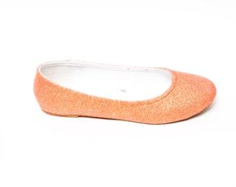 Glitter | Princess Pumps Melon Orange Ballet Flat Casual Shoes