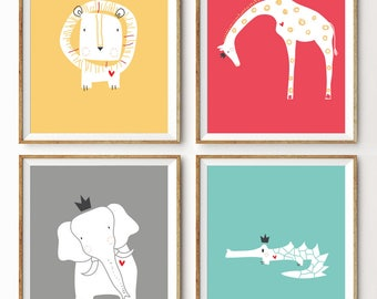 Baby Art Print. Set of 4. Royal Safari by LittleLion Studio. Unframed. 8x10 inches. Baby Shower Gift. Warm Colors