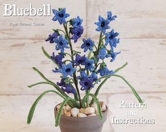 Crochet Bluebell Flower Pattern  Plant  Garden Decoration Home  Handmade Blue  Vase Floral Arrangement