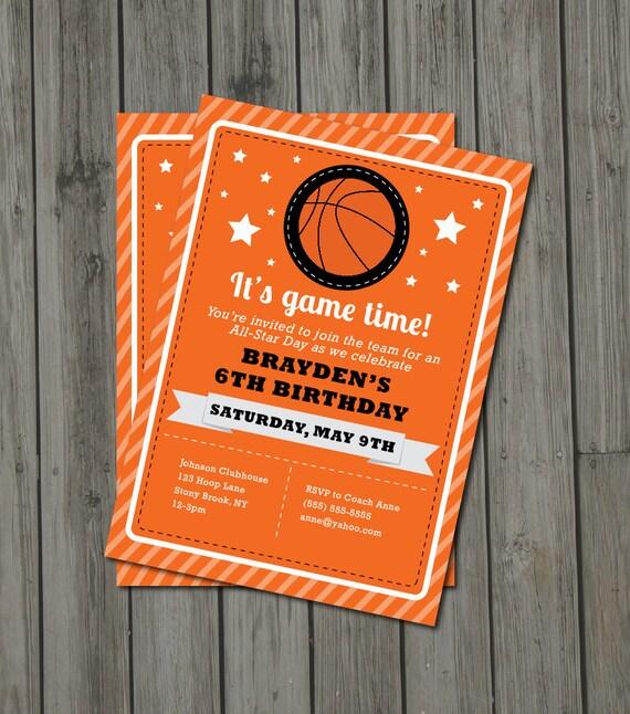 Items similar to Basketball Birthday Party Invitation Basketball