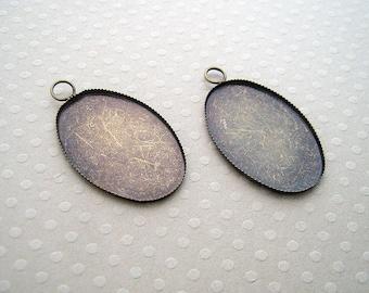 Lot de 2 pendentifs bronze pour cabochon ovale 20x30 mm - SCABOB3020-9946