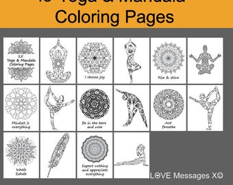 Summer SALE Yoga Art Printable15 Coloring Pages For AdultsColoring Book Poses Mandala Printable DIY Zen Meditation Mant