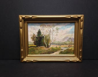 """Tranquil Scene Scenery Landscape Painting by Allain.  Frame is 8.5 x 6.75"""""""